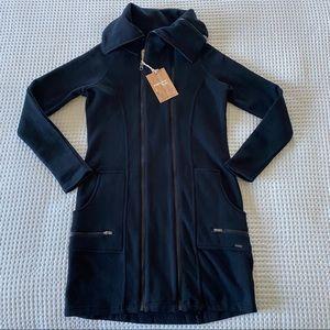 Triple Five Soul Double Zipper Long Black Sweater